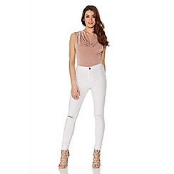 Quiz - White Denim Skinny Ripped Knee Jeans