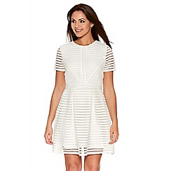 Quiz - Cream Honeycomb Stripe Skater Dress