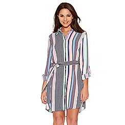 Quiz - Multicoloured Crepe Stripe Shirt Dress
