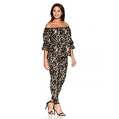 Quiz - Stone And Black Lace Skinny Leg Trousers
