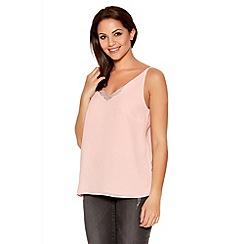 Quiz - Pink Chiffon Diamante Trim Strap Vest