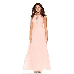 Quiz - Peach And Pearl Cut Out Maxi Dress