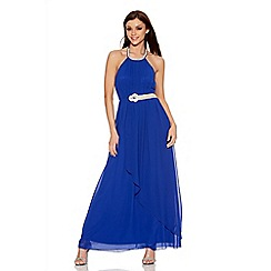 Quiz - Royal Blue Chiffon Diamante  Maxi Dress