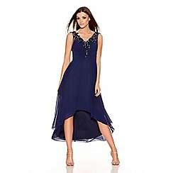 Quiz - Navy Chiffon Embroidered Dip Hem Dress