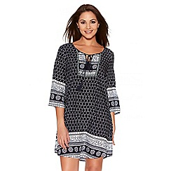 Quiz - Navy And White Print Tassel Tunic Dress