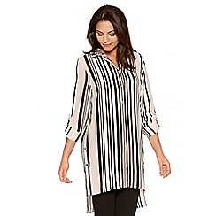 Quiz - Pink And Cream Stripe Button Shirt Dress