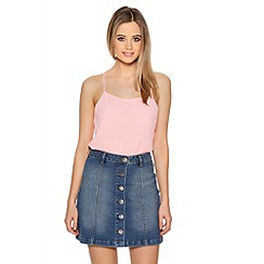 Quiz - Light Blue Denim Button Front A-Line Skirt