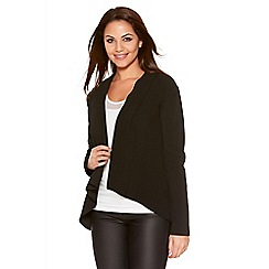 Quiz - Black Crepe Long Sleeve Waterfall Jacket