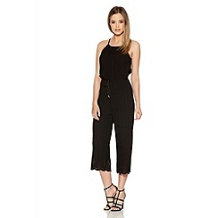 Quiz - Black Pleated Laser Culotte Jumpsuit