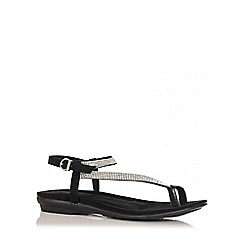 Quiz - Black Diamante Toe Ring Sandals