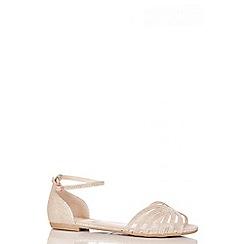 Quiz - Gold Shimmer Mesh Flat Sandals