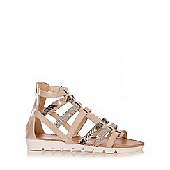Quiz - Nude Snake Strappy Chunky Sandals
