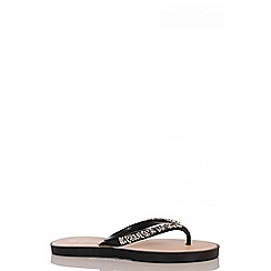 Quiz - Black Diamante Jelly Flat Sandals