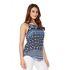 Quiz - Blue Aztec Print Vest Top