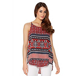 Quiz - Red Aztec Print Vest Top