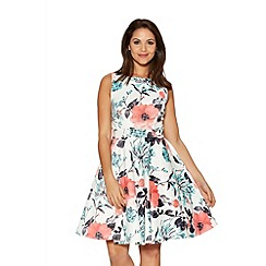 Quiz - Cream And Coral Satin Skater Dress