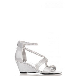 Quiz - Silver Satin Diamante Wedges