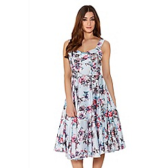 Quiz - Blue And Pink Satin Flower Print Prom Dress