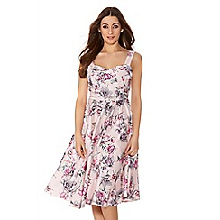 Quiz - Pink And Grey Satin Flower Print Prom Dress