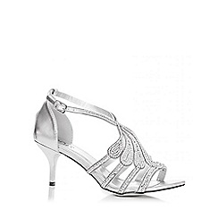 Quiz - Silver Diamante Swirl Low Heel Sandals
