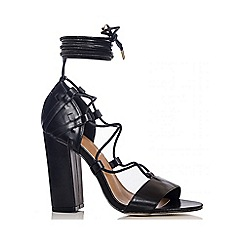 Quiz - Black PU Lace Up Block Heel Sandals
