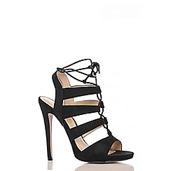 Quiz - Black Faux Suede Lace Up Heel Sandals