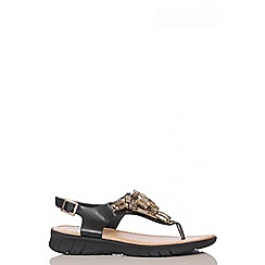 Quiz - Black Jewel Low Wedge Sandals