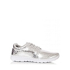 Quiz - Silver Snake Metallic Trainers