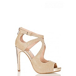 Quiz - Gold Swirl Shimmer Heel Sandals