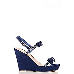 Quiz - Navy Faux Suede Bow Front Wedges