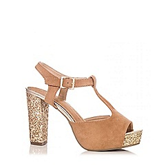 Quiz - Tan Faux Suede Glitter Block Heel Shoes