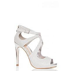 Quiz - Silver Swirl Shimmer Heel Sandals