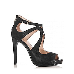 Quiz - Black Swirl Shimmer Heel Sandals