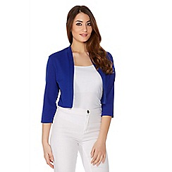 Quiz - Royal Blue Crop 3/4 Sleeve Jacket