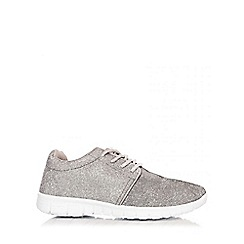 Quiz - Grey Shimmer Glitter Lace Up Trainers