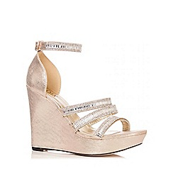 Quiz - Gold Diamante Strap Wedges