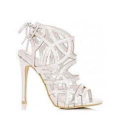 Quiz - Silver Cage Cut Out Heel Sandal