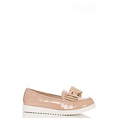 Quiz - Nude Patent Chunky Bow Loafers