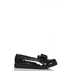 Quiz - Black Patent Chunky Bow Loafers