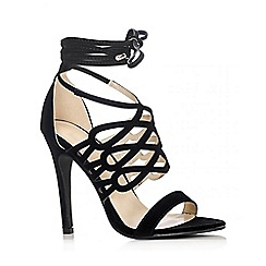 Quiz - Black Loop Tie Heel Sandals