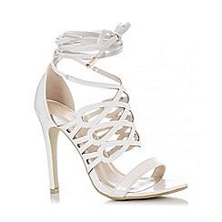 Quiz - White PU Loop Tie Heel Sandals