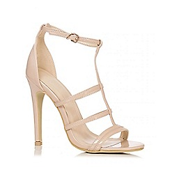 Quiz - Nude Patent 3 Strap T-Bar Sandals
