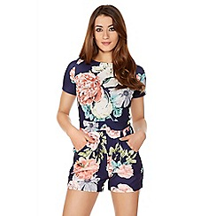 Quiz - Navy And Coral Crepe Playsuit