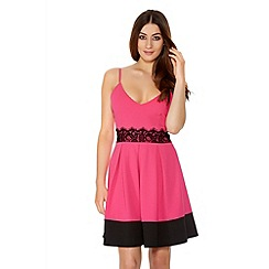 Quiz - Hot Pink Crepe Lace Detail Skater Dress