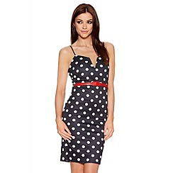 Quiz - Black And White Polka Dot Midi Dress