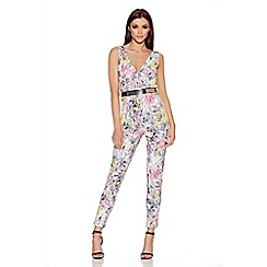 Quiz - Multicoloured Crepe Flower Print Jumpsuit
