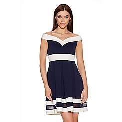 Quiz - Navy And Cream Bardot Mesh Skater Dress