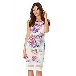Quiz - Cream Flower Print Mesh Bodycon Dress