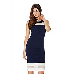 Quiz - Navy And Cream Mesh Bodycon Dress