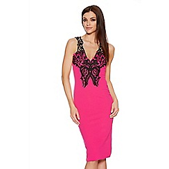 Quiz - Pink Crochet V Neck Midi Dress